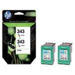 HP Nr. 343 tricolor, Doppelpack 2x7ml.